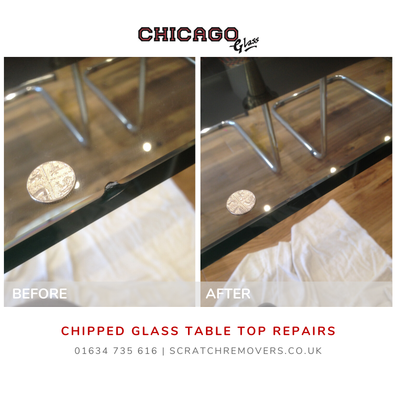 Chipped Glass Table Top Before & After Picture