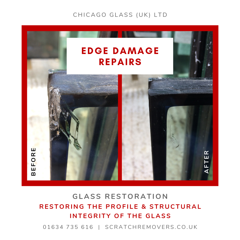 Before & After pictures of Edge Slither Damage to a Glass Panel.